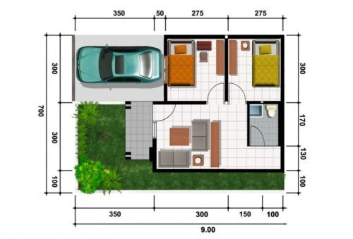 Contoh Denah Rumah Kampung  denah rumah minimalis type 21 3 guru sipil