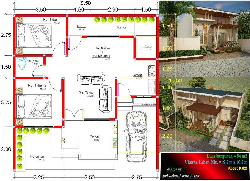 Contoh Denah Rumah Kampung  gambar denah rumah 1 lantai type 54 ukuran lahan 9 5x 10 5