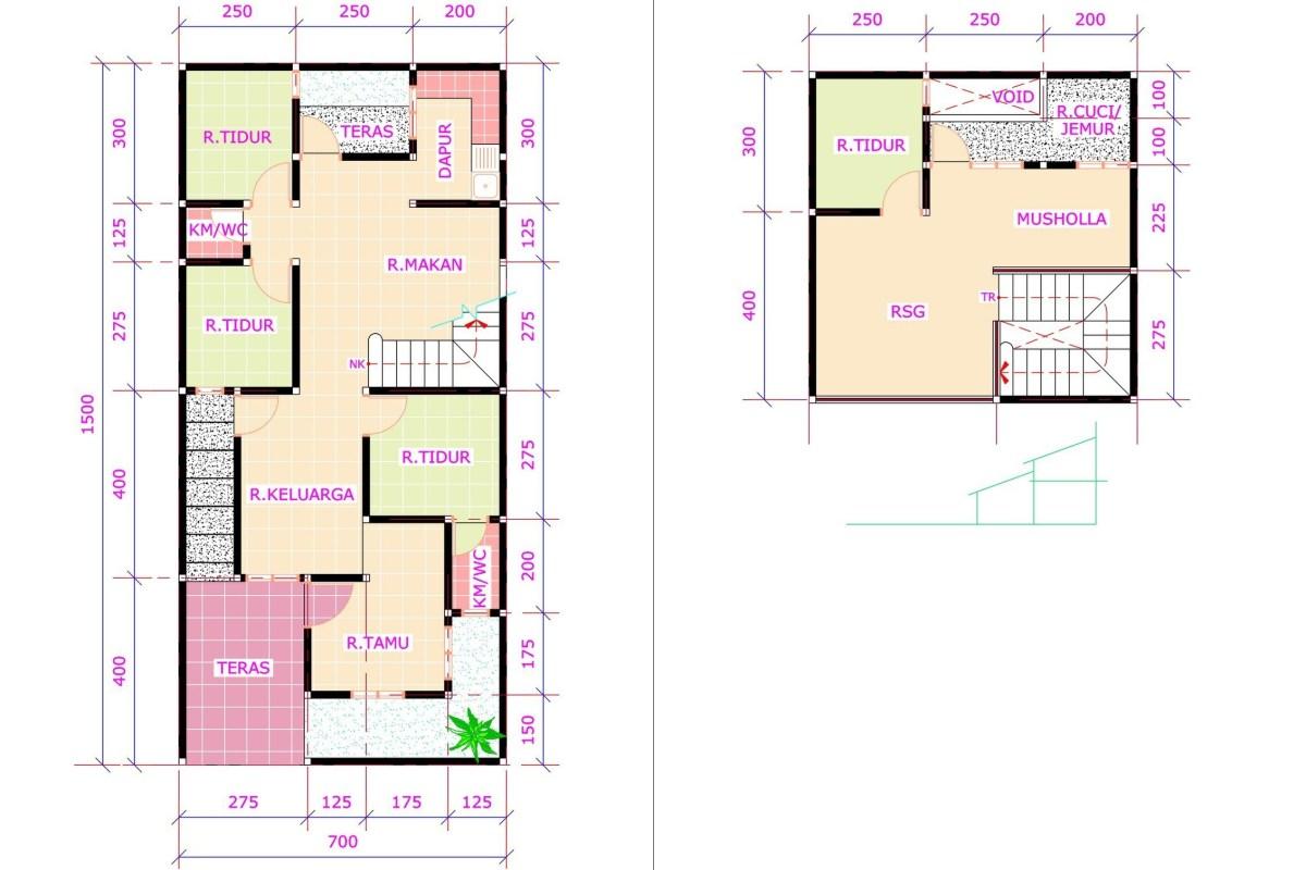 denah dan gambar rumah ukuran 7x10 desain rumah minimalis 3 kamar tidur dan garasi dari denah dan gambar rumah ukuran 7x10 1 - Contoh Desain Rumah Kamar 3 dan Mushola 1