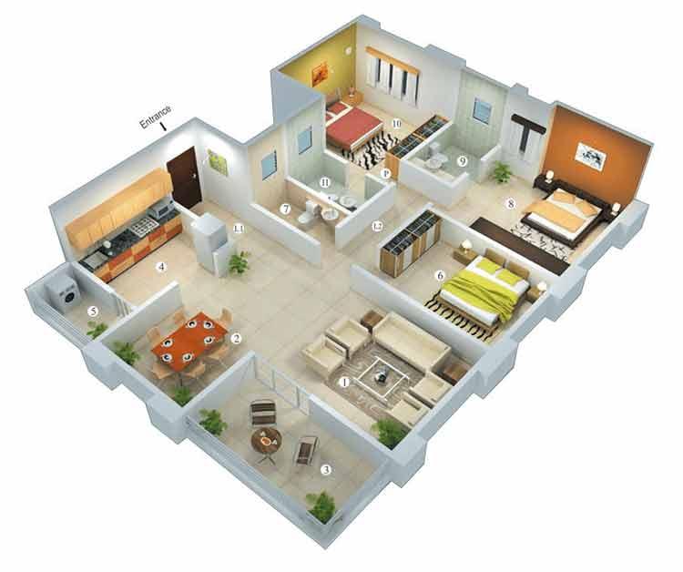 denah rumah type 45 1 - Ragam Desain Rumah di Kampung Sesuai Dengan Tipe Model