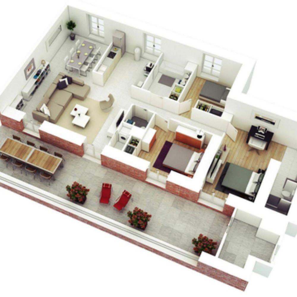 pinterest 3 1 - Contoh Desain Rumah Kamar 3 dan Mushola 1