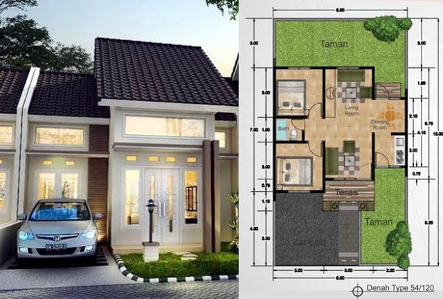 rumah type 54 1 - Ragam Desain Rumah di Kampung Sesuai Dengan Tipe Model